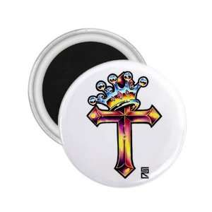 Tattoo Cross King Art Fridge Souvenir Magnet 2.25 Free
