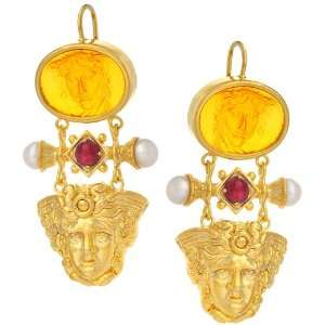 Gold Amber Venetian Glass Ruby and Freshwater Pearls Earrings Jewelry