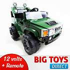 RC BATTERY POWER KIDS RIDE ON HUMMER JEEP W/ BIG WHEELS & R/C REMOTE