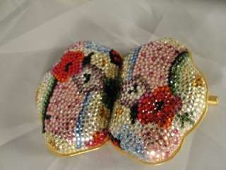 RETIRED RARE COLORED SWAROVSKI CRYSTAL FLORAL PURSE PILL BOX