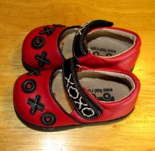 See Kai Run Red/ Black XOXO Baby girl Mary Janes sz 5