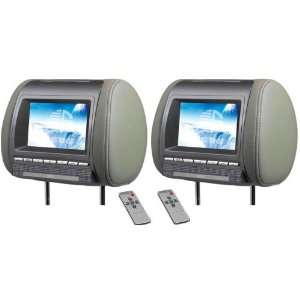GRAY 7 HEADREST HIGH RESOLUTION TFT LCD CAR VIDEO MONITOR SCREENS