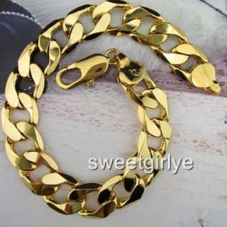 Vogue18k Yellow Gold Filled Mens Bracelet Curb Chain 9Free S/H GF