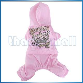 Dog Pet Warm Coat Jacket Pants Jumpsuit Hoodie Hooded Princess Outfit