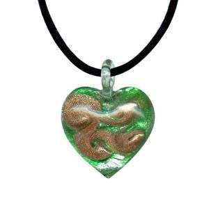 Blown Italian Glass & Pure Platinum Heart Pendant w/Necklace