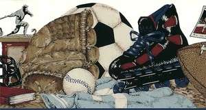 WALLPAPER BORDER SPORTS BASEBALL FOOTBALL SOCCER IN LINE SKATING BLACK