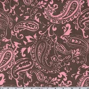 60 Wide Minky Paisley Brown/Hot Pink Fabric By The Yard