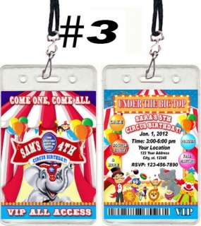 CIRCUS CARNIVAL BIRTHDAY PARTY TICKET INVITATIONS VIP PASSES AND