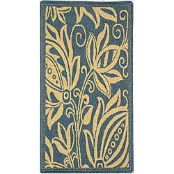 Indoor/ Outdoor Andros Blue/ Natural Rug (2 x 37)