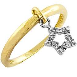 14k Two tone Gold Diamond Accent Star Dangle Ring (I J, I2 I3