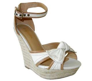 Adorable Canvas Bow Ankle Strap Espadrille Wedge Sandal Beige