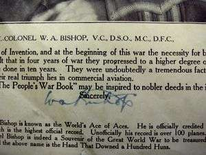 WAR BOOK AUTOGRAPHED BY WWI ACE PILOT COL. W.A. BISHOP