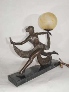 Art Deco Bronze Figurine Lamp Signed Ouline 1920s