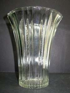 Clear Depression Glass Art Deco Modern Flower Vase 7 1/4 H