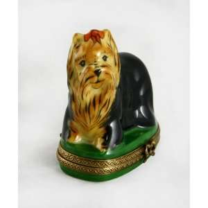 Cute Yorkshire Terrier Dog Authentic French Gr Limoges Box