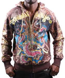 CHRISTIAN AUDIGIER Ed Hardy Platinum Snake Hooded Mens Hoodie