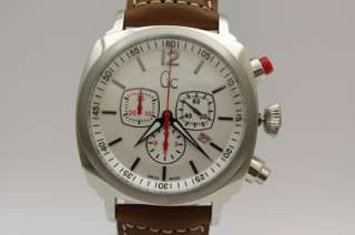 GC Guess Swiss Collection Men Chronograph Leather Band Watch Date 48mm