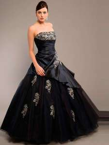 Black Applique Party/Ball/Prom Dress/Bridesmaid Gown *Custom* Size4