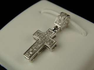 MEN/LADIES WHITE GOLD FINISH GENUINE DIAMOND MINI CROSS