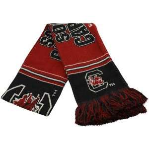 South Carolina Gamecocks Garnet Black Striped Team Scarf