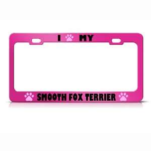 Smooth Fox Terrier Paw Love Pet Dog Metal license plate