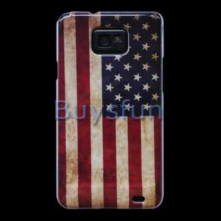 Retro look USA American Flag Hard Cover Case Skin for Samsung Galaxy
