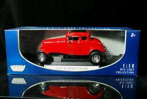 1932 Ford 5 Window Coupe MOTORMAX Diecast 118 Scale   Red