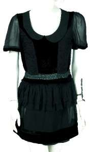 NEW $98 BCBG MAXAZRIA Black Tiered Tunic Dress Medium M 6