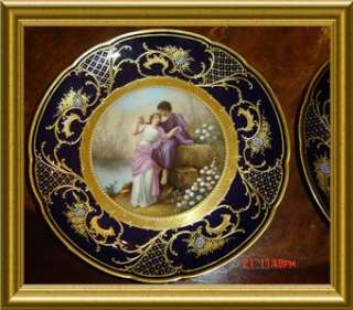 PAIR OF GOLD GILT JEWELED & ENAMEL ROYAL VIENNA SIGNED PORTRAIT PLATES