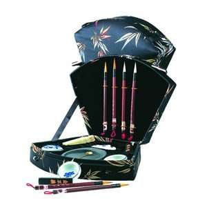 Black Bamboo Calligraphy Set Four Brush Fan Design