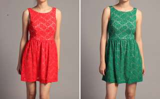 Crochet Lace Sleeveless Day Party DRESS Low Cut Back A Line SKIRT NEW