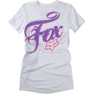 Fox Racing Womens White Lightning T Shirt   Small/White Automotive