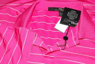 POLO RALPH LAUREN RLX MENS GOLF SHIRT SHORT SLEEVE PINK WHITE STRIPE