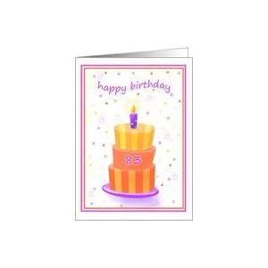 83 Years Old Happy Birthday Stacked Cake Lit Candle Card