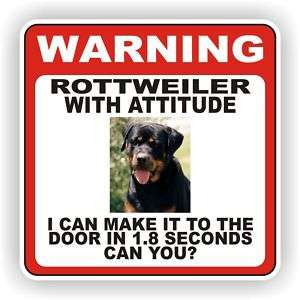 ROTTWEILER DOOR WARNING DECAL PET DOG