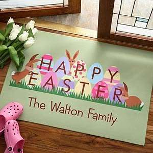Personalized Family Welcome Mat   Easter Design Patio