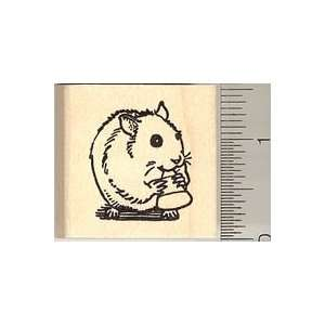 Cute Hamster Eating Candy Corn Rubber Stamp   Wood Mounted
