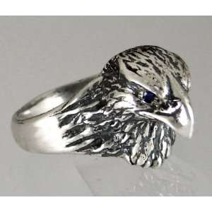 Sterling Silver Hawks Head Ring Accented with Genuine