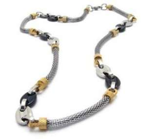 Mens Stainless Steel Mesh Chain Link Necklace 6mm 22.5