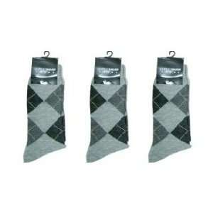 Mens Dress Socks, 3 Pairs, Argyle Pattern, grey Sports