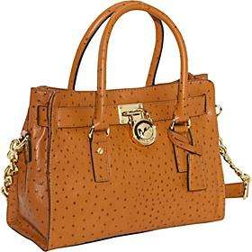 Brand New Authentic Michael Kors Luggage Hamilton Ostrich Satchel/Tote