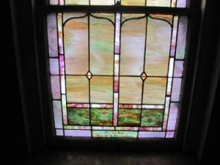 VICTORIAN ANTIQUE PAIR OF STAINED GLASS WINDOWS 10JB52