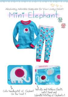Toddler Kids Girl Boy Sleepwear Pajama Set  Mini Elephant