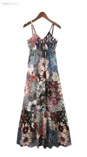 Spaghetti Strap Boho Cotton Blue Flower Print V Neck Long Womens Maxi