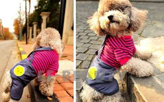 Pet Dog Clothes Apparel Jeans Pants Overalls Outfits Jumpsuit