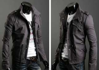 Mens Casual Stylish Slim Trench Coat Jacket M XXL