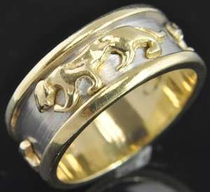 Two Tone 14K Yellow & White Gold Panther Cougar Wide Band Ring 7 Heavy