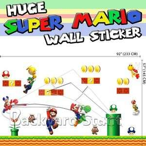 Huge Super Mario Wall Sticker Decals XMAS Room Decor Removable US
