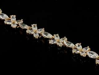 Stunning White Gems 14k Yellow Gold Filled Bracelet