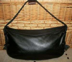 Anne Klein Black Embossed SOFT Leather Purse Bag 14 x 8 shoulder